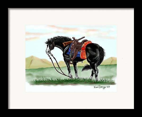 Horses Framed Print featuring the digital art Waiting On The Boss by Kim Souza
