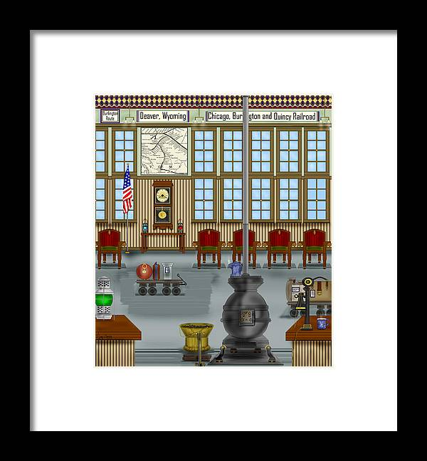 Realism Framed Print featuring the painting Waiting Room at the Depot by Anne Norskog