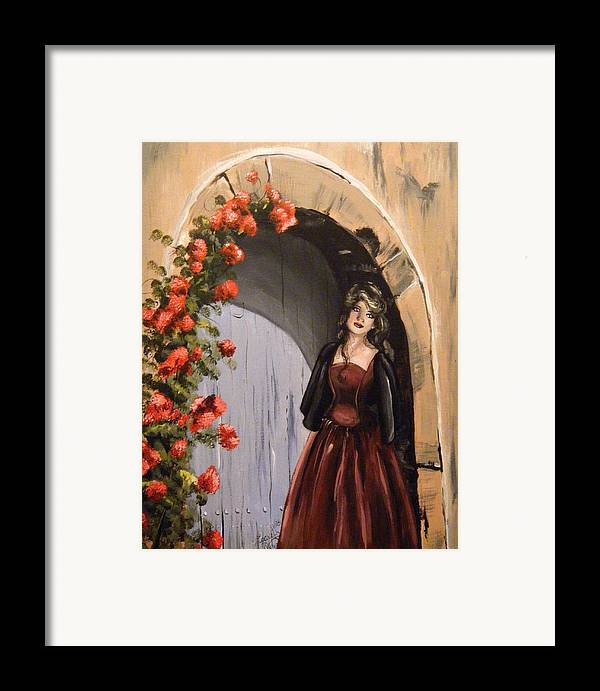 Door Framed Print featuring the painting Waiting by Scarlett Royal