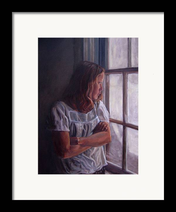 Woman At Window Framed Print featuring the painting Waiting by Tahirih Goffic