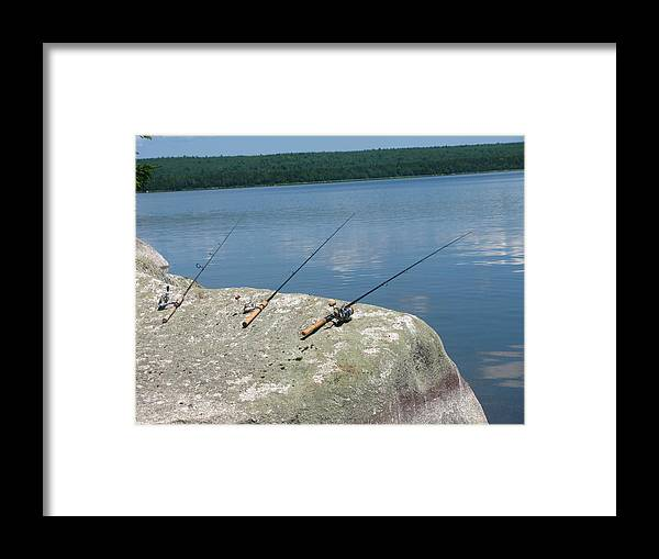 Fishing Poles Framed Print featuring the photograph Waiting by Tammy Bullard