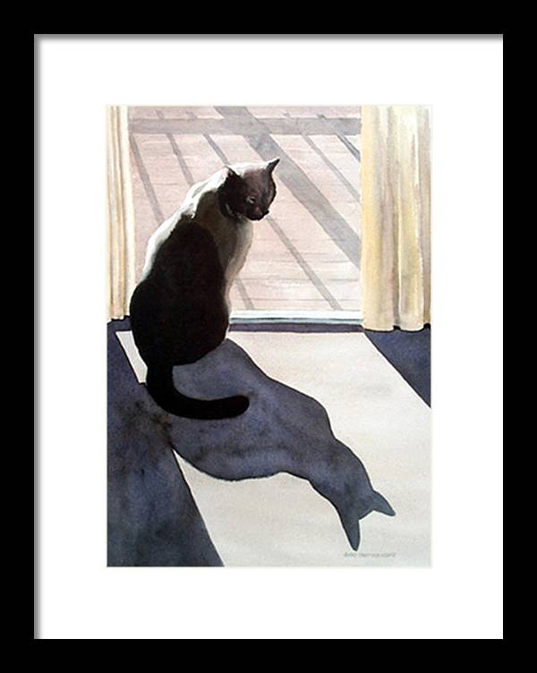 Cat Framed Print featuring the print Waiting To Go Out by Anne Trotter Hodge