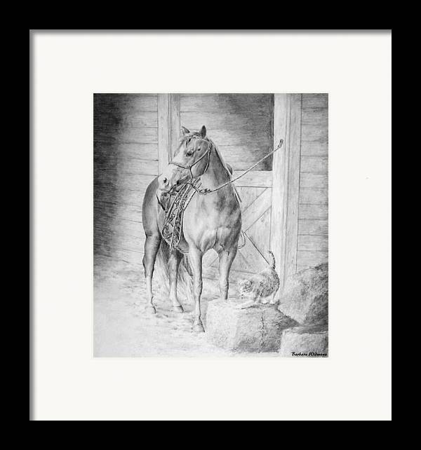 Horse Framed Print featuring the drawing Waiting To Ride by Barbara Widmann