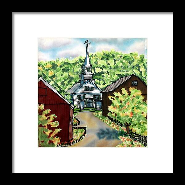 Church Framed Print featuring the painting Waits River Church by Linda Marcille
