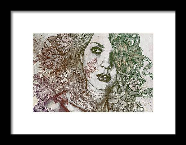 Graffiti Framed Print featuring the drawing Wake - Autumn - Street Art Woman With Maple Leaves Tattoo by Marco Paludet