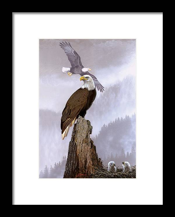 Wildlife Framed Print featuring the painting Wake Up Call by Harold Shull
