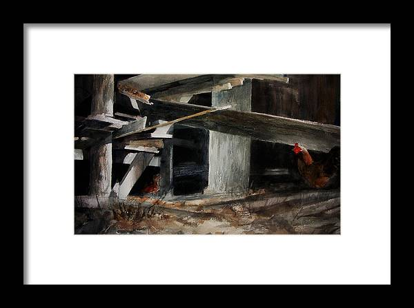 Landscape Framed Print featuring the painting Wakeup Call by Rachel Christine Nowicki