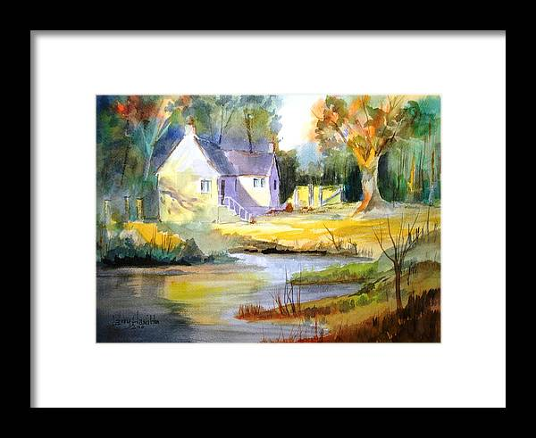 Watercolor Framed Print featuring the painting Wales Country House by Larry Hamilton