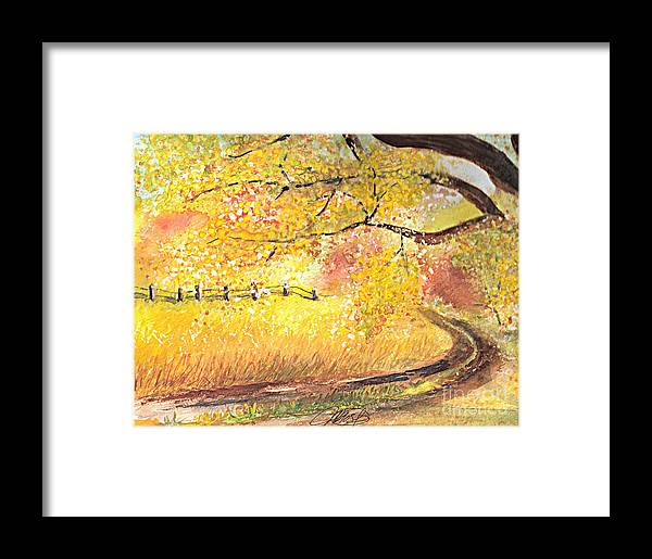Landscape Framed Print featuring the painting Walk About by Vivian Mosley