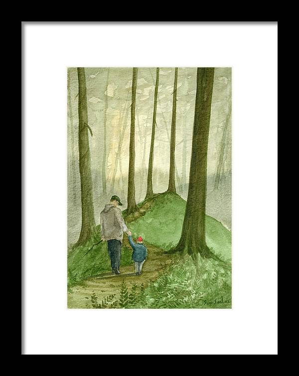 Father Framed Print featuring the painting Walk In The Woods by Sean Seal