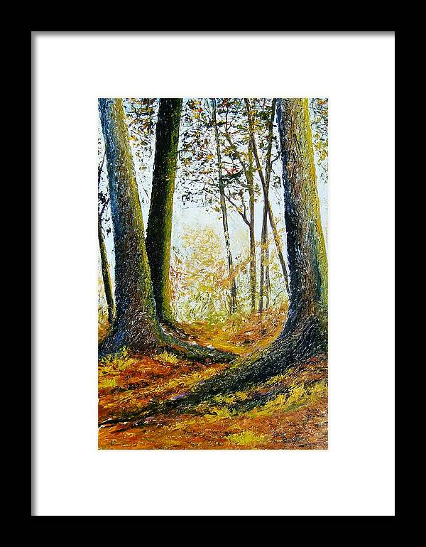 Landscape Framed Print featuring the painting Walk In The Woods by Tami Booher