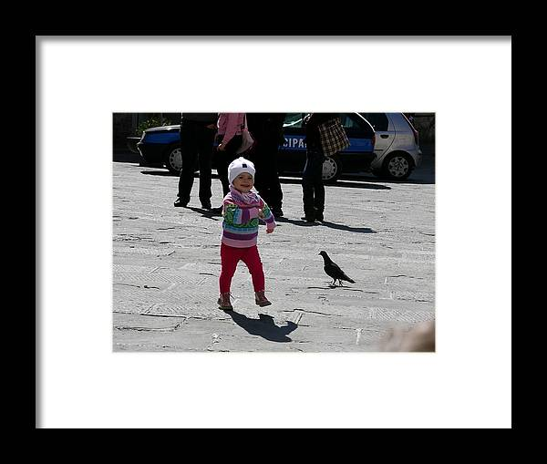 Child Framed Print featuring the photograph Walk Like A Pigeon by Thor Sigstedt