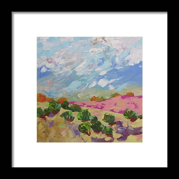 Painting Framed Print featuring the painting Walk With Me by Linda Monfort
