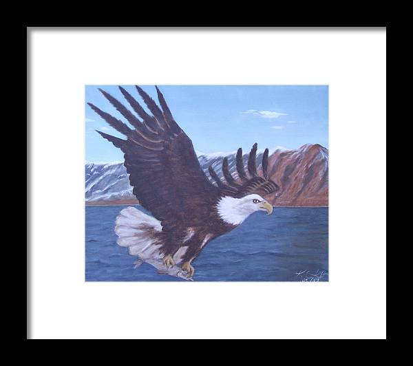 Eagle Framed Print featuring the painting Walker Lake by KC Knight