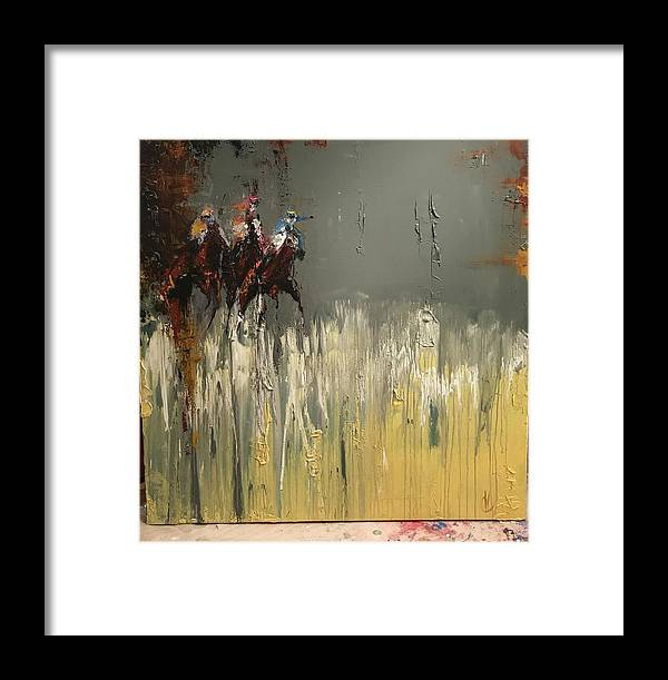 Original Race Horse Painting Framed Print featuring the painting Walker Run by Heather Roddy