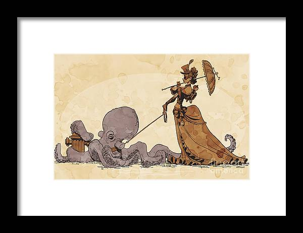 Steampunk Framed Print featuring the digital art Walkies for Otto by Brian Kesinger