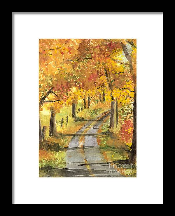 Fall Framed Print featuring the painting Walkin by Vivian Mosley