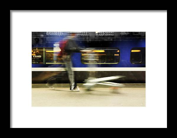 Station Framed Print featuring the photograph Walking Along The Quay by Martine Affre Eisenlohr