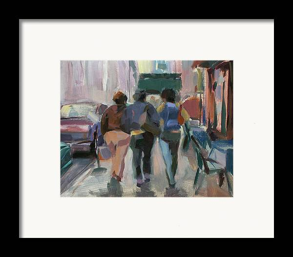 Figurative Framed Print featuring the painting Walking In Chelsea by Merle Keller