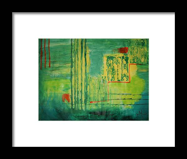 Abstract Landscape Framed Print featuring the painting Walking In The Park by Malinda Kopec