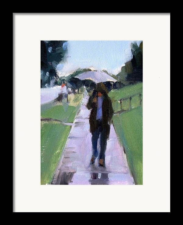 Figurative Framed Print featuring the painting Walking In The Rain by Merle Keller