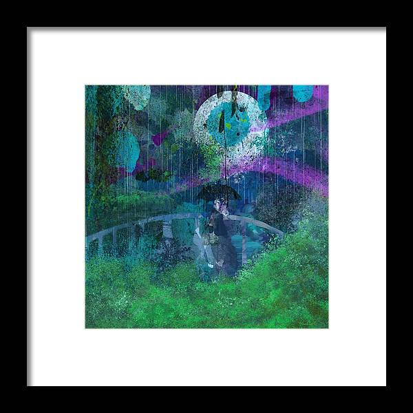 Abstract Framed Print featuring the digital art Walking In The Rain by Pamela Dumas