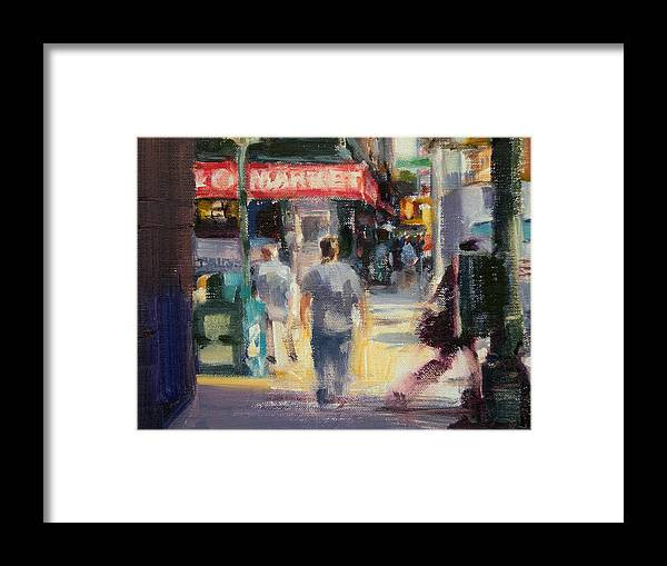 Cityscape Framed Print featuring the painting Walking In The West Village by Merle Keller
