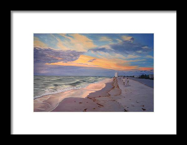 Seascape Framed Print featuring the painting Walking On The Beach At Sunset by Lea Novak