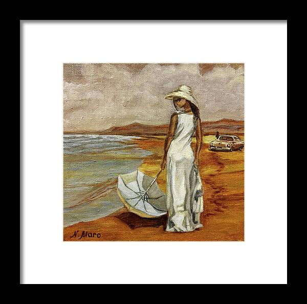 Sea Framed Print featuring the painting Walking On The Beach by Natalie Maro