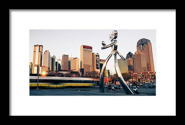 America Framed Print featuring the photograph Walking Tall Traveling Man - Dallas Texas Skyline by Gregory Ballos