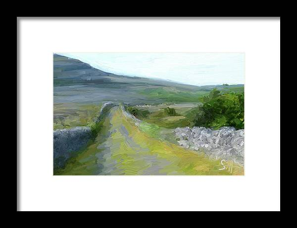 County Clare Framed Print featuring the digital art Walking the Burren by Scott Waters