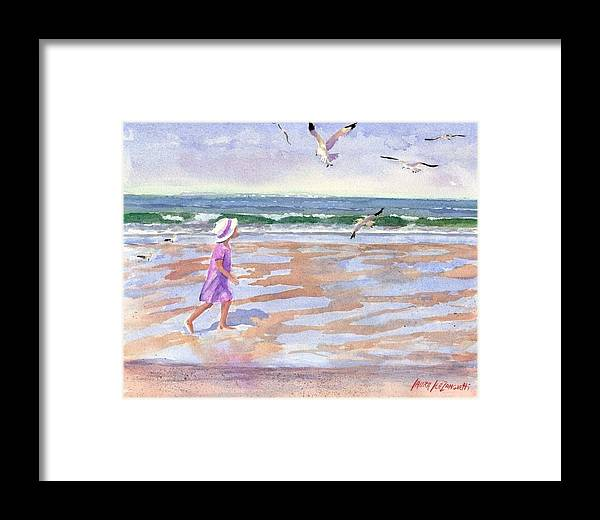 New England Framed Print featuring the painting Walking The Cape by Laura Lee Zanghetti