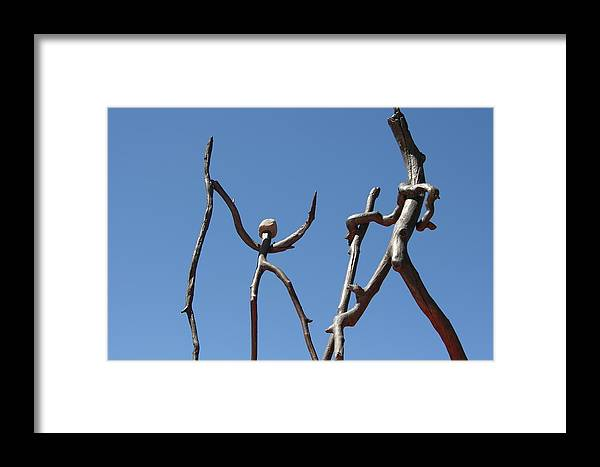 Bronze Framed Print featuring the sculpture Walking by Thor Sigstedt