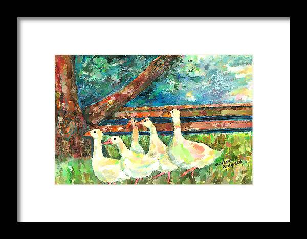 Ducks Framed Print featuring the mixed media Walking Through The Grass by Arline Wagner