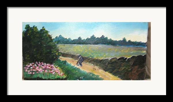 Art Framed Print featuring the painting Walking To Town by Anne-Elizabeth Whiteway
