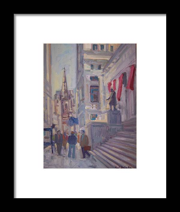Street Scene Of Wall St.trinity Church Framed Print featuring the painting Wall St. by Bart DeCeglie