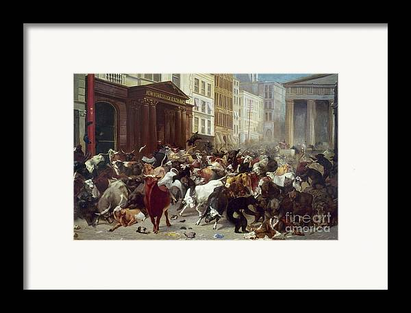 1879 Framed Print featuring the photograph Wall Street: Bears & Bulls by Granger