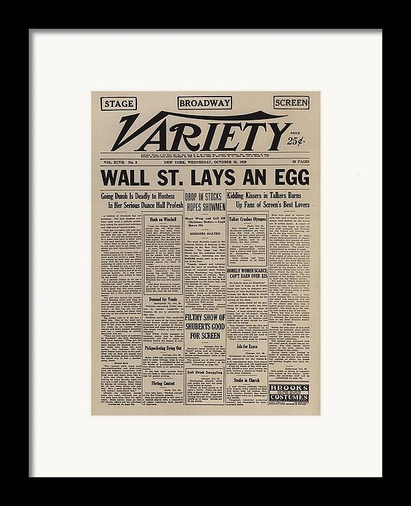 History Framed Print featuring the photograph Wall Street Lays An Egg. Famous by Everett