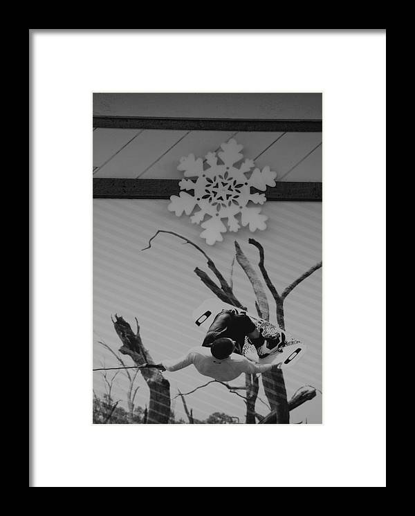 Snow Flake Framed Print featuring the photograph Wall Surfing With A Snow Flake by Rob Hans