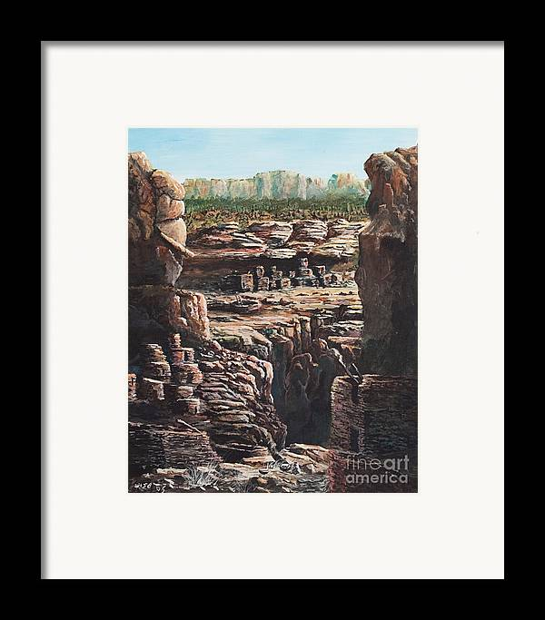 Anasazi Ruins Framed Print featuring the painting Walnut Canyon by John Wise