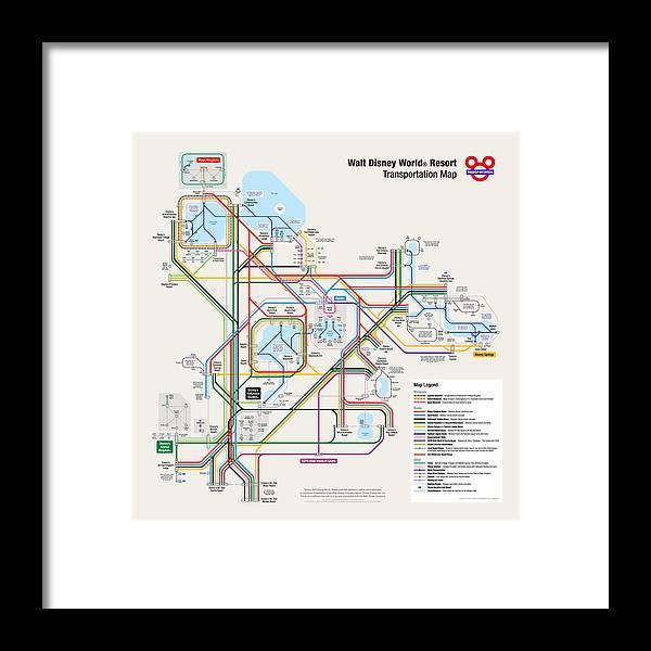 Walt Disney World Resort Transportation Map Framed Print by Arthur ...
