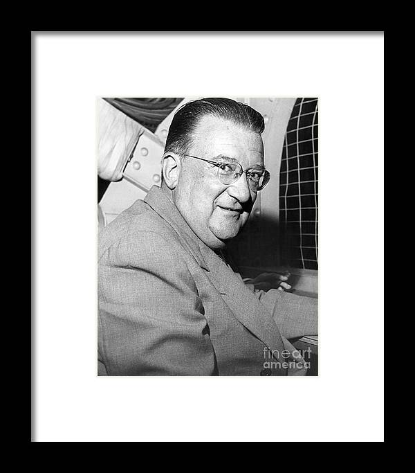 Walter O'malley; New York Post Prints; Baseball; Barney Stein Framed Print featuring the photograph Walter O'malley President Of The Brooklkyn Dodgers. 1955 by Barney Stein
