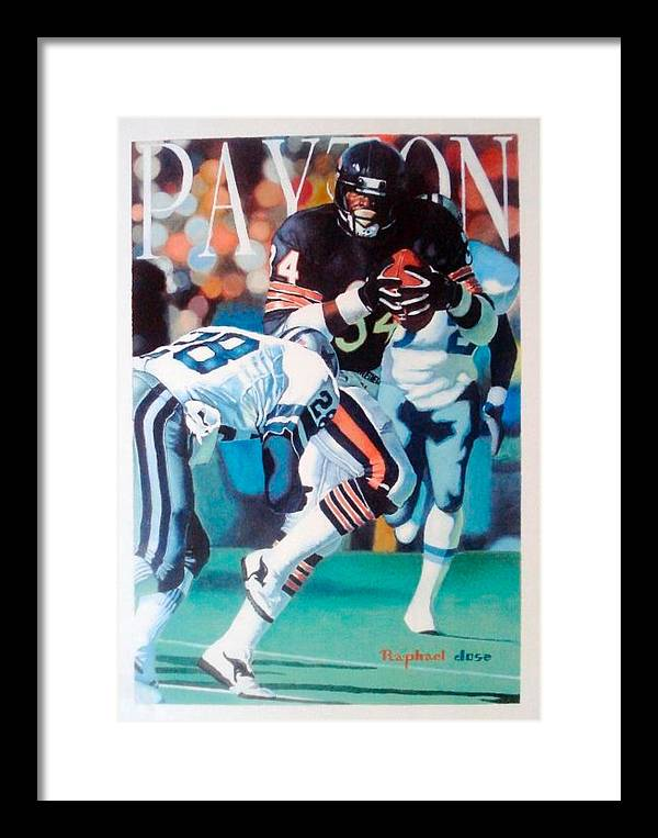 Portrait Framed Print featuring the painting Walter Payton by Raphael Sanabria