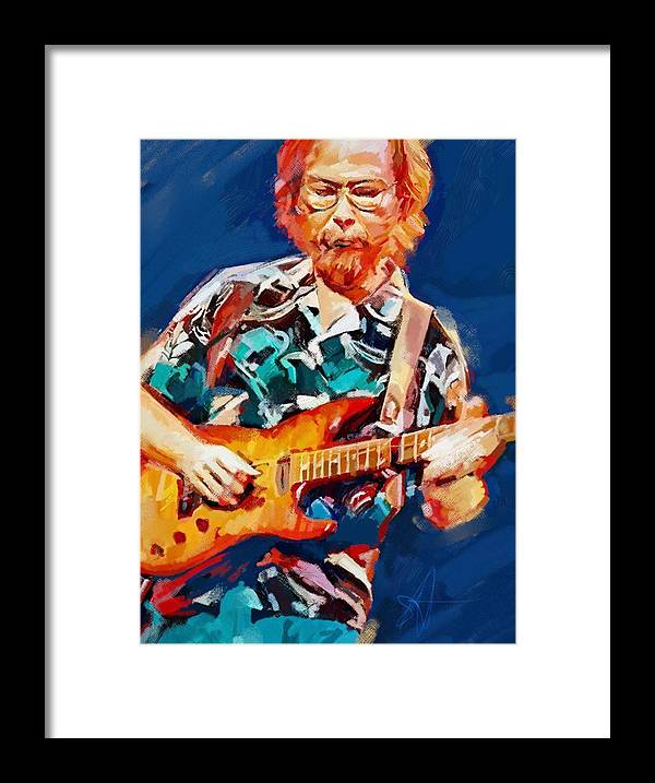 Walter Becker Music Portrait Musician Rock Steeley Dan Framed Print featuring the digital art Uncle Walter by Scott Waters