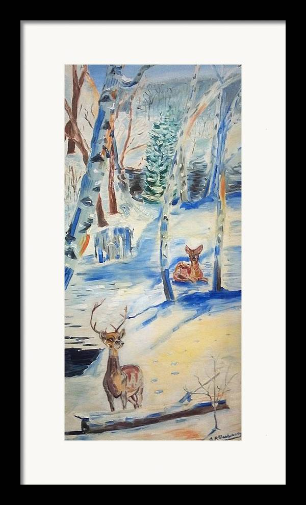 North New Jersy Winter Landscape Deers Birch Trees Framed Print featuring the painting Wanaque Winter Nj by Alfred P Verhoeven