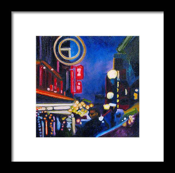 Night Scene Framed Print featuring the painting Wandering At Dusk by Patricia Arroyo
