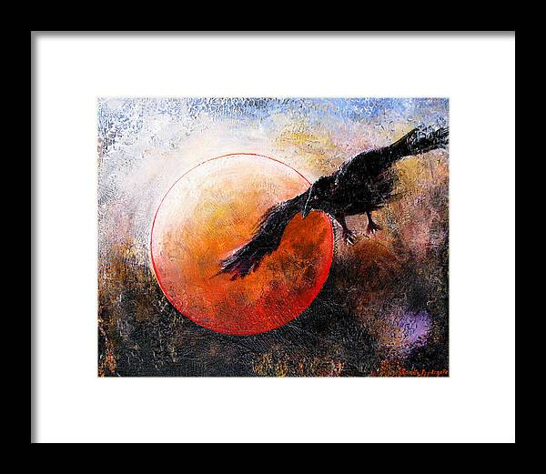 Raven Framed Print featuring the painting Wandering From The Nightly Shore by Sandy Applegate