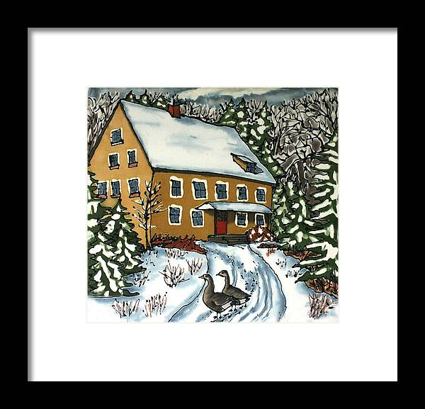 Silk Framed Print featuring the painting Wandering Geese by Linda Marcille