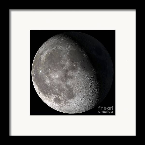 Gibbous Moon Framed Print featuring the photograph Waning Gibbous Moon by Stocktrek Images