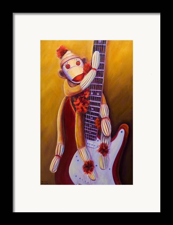 Monkey Framed Print featuring the painting Wanna Be A Rocker by Shannon Grissom